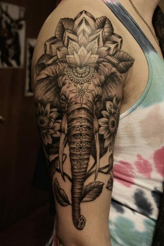 sleeve tattoo ideen für frauen mit elefanten und lotus