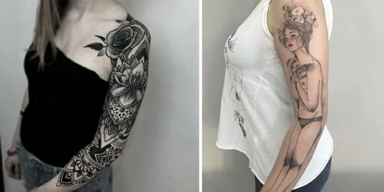 sleeve tattoo ideen für frauen vintage stil