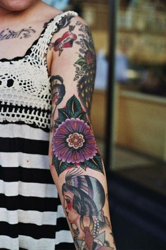 sleeve tattoo ideen im boho style für frauen
