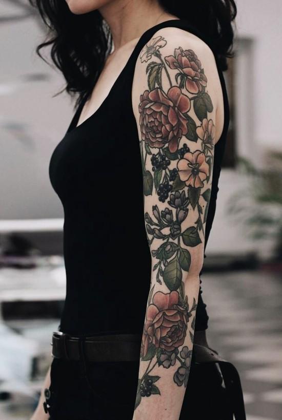 sleeve tattoo ideen klassische rosen