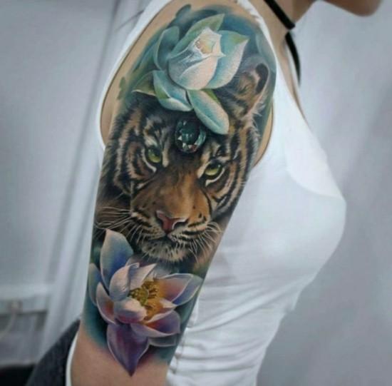 tiger lotus sleeve tattoo ideen