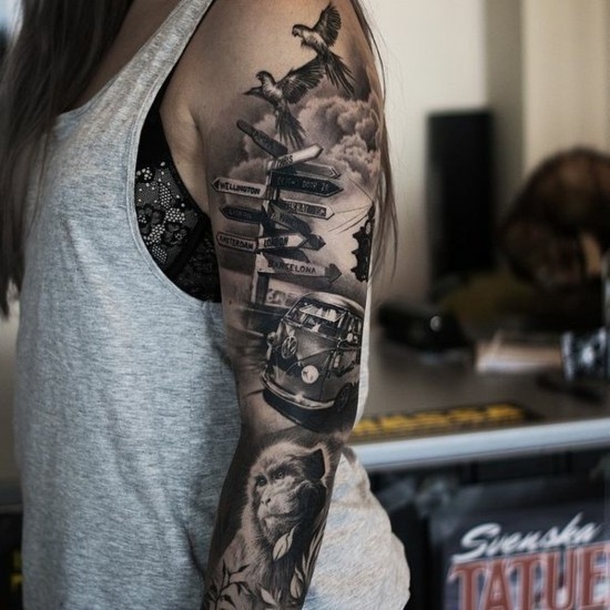 travel sleeve tattoo ideen für frauen