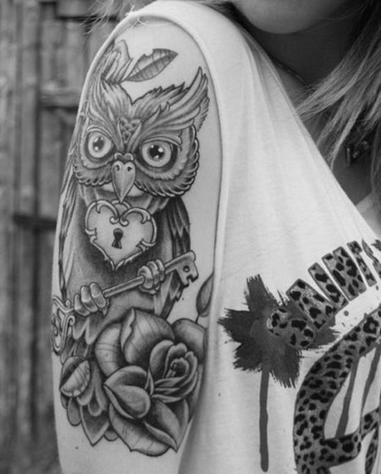 vintage sleeve tattoo ideen mit eule