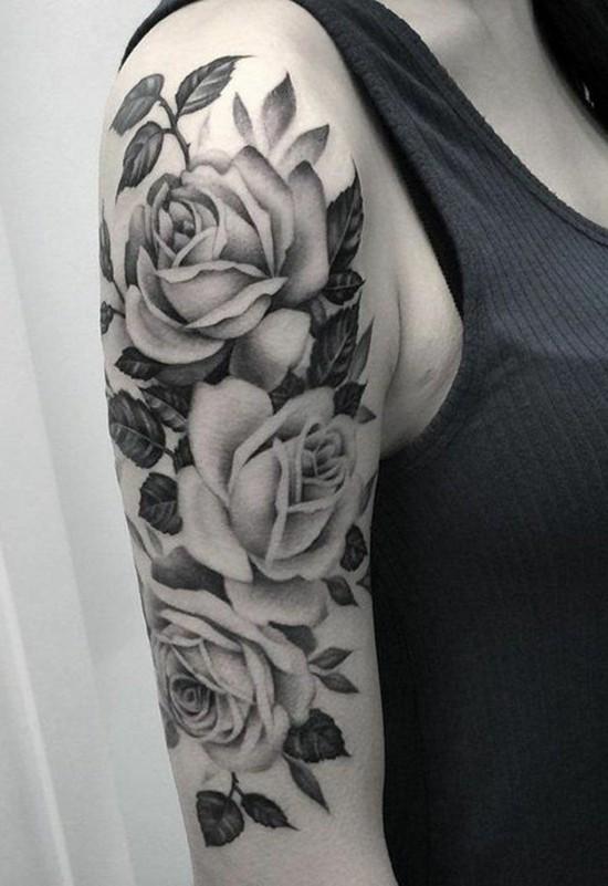 vintage sleeve tattoo ideen mit rosen