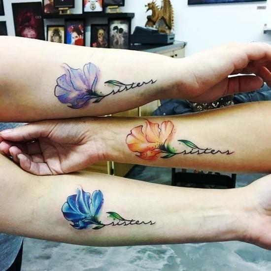 170 kreative Geschwister Tattoo Ideen und Inspirationen blumen drei bunt schwester