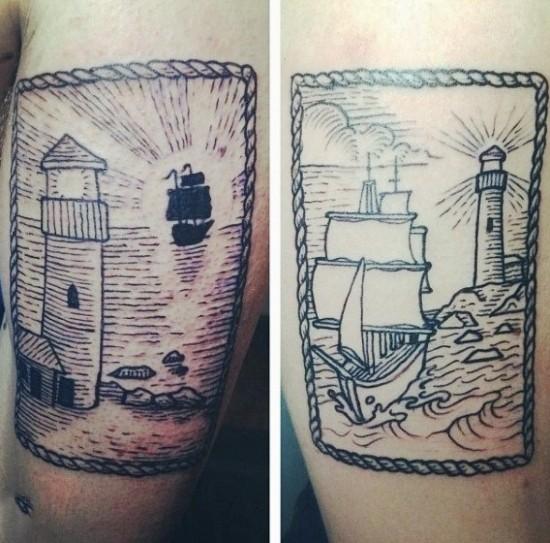 170 kreative Geschwister Tattoo Ideen und Inspirationen bruder idee schiff leuchtturm