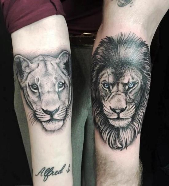 170 kreative Geschwister Tattoo Ideen und Inspirationen bruder schwester löwe löwin