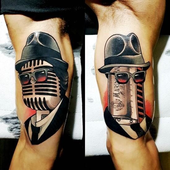170 kreative Geschwister Tattoo Ideen und Inspirationen bruder tattoo harmonika mikrofon