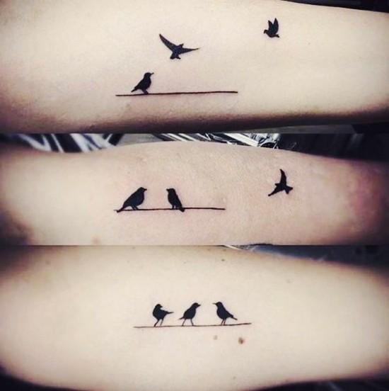 170 kreative Geschwister Tattoo Ideen und Inspirationen drei vögel drillinge