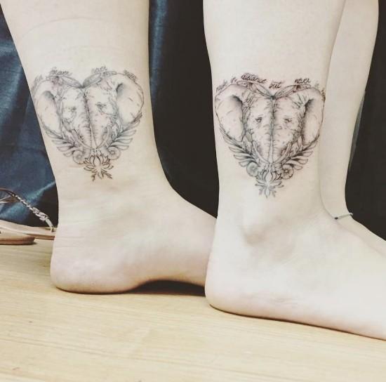 170 kreative Geschwister Tattoo Ideen und Inspirationen elefanten herz schwester niedlich