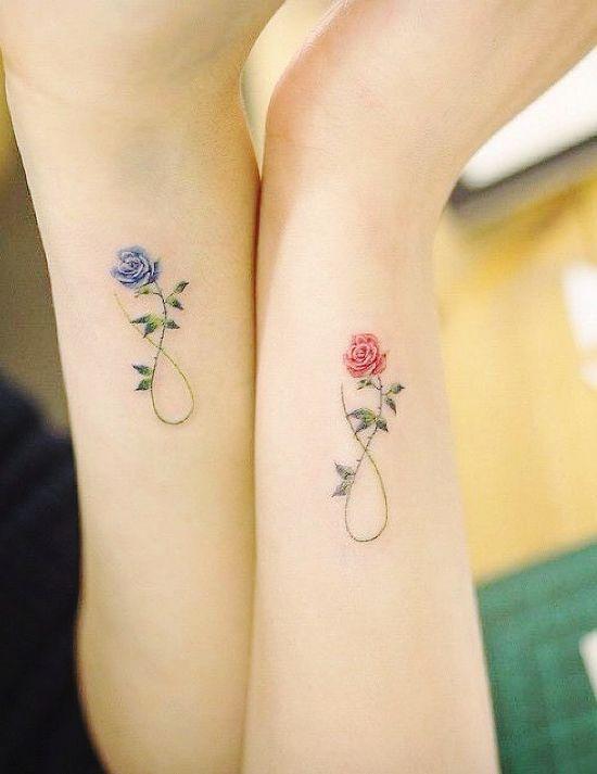 170 kreative Geschwister Tattoo Ideen und Inspirationen endlosigkeit symbol mit rose