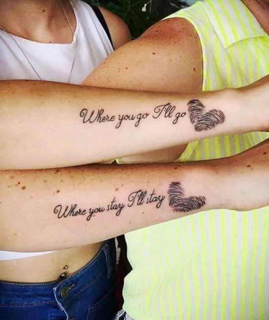 170 kreative Geschwister Tattoo Ideen und Inspirationen fingerabdrücke herz schwester idee