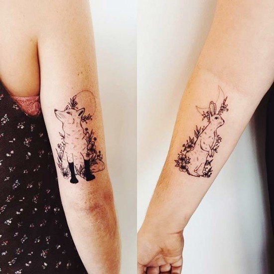 170 kreative Geschwister Tattoo Ideen und Inspirationen fuchs und hase mond und sonne