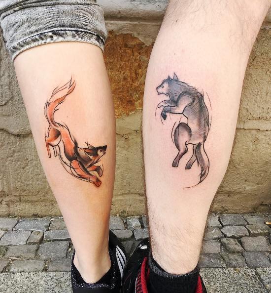 170 kreative Geschwister Tattoo Ideen und Inspirationen fuchs und wolf sketch farbe