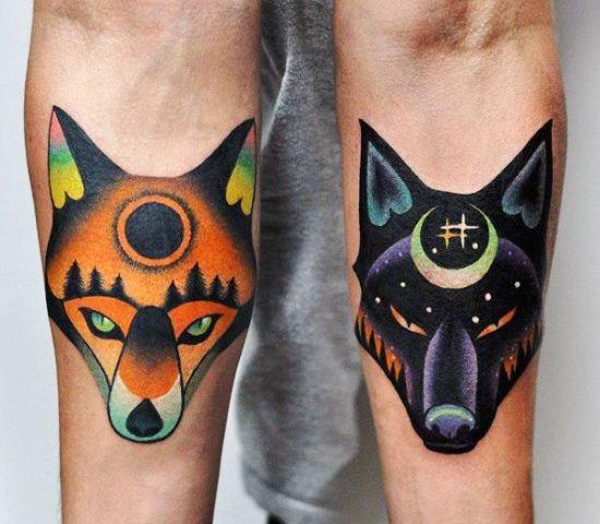 170 kreative Geschwister Tattoo Ideen und Inspirationen fuchs und wolf sonne mond