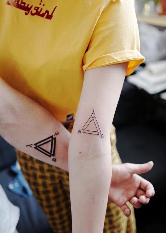 170 kreative Geschwister Tattoo Ideen und Inspirationen geometrisch dreiecke bruder schwester