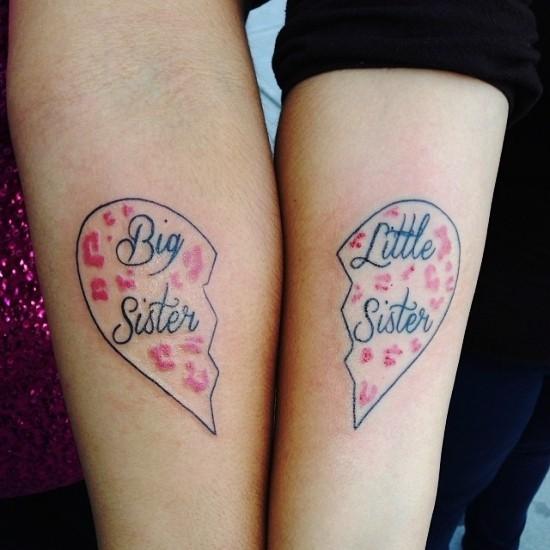 170 kreative Geschwister Tattoo Ideen und Inspirationen geteiltes herz große kleine schwester