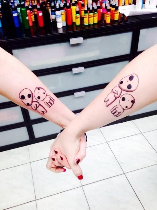 170 kreative Geschwister Tattoo Ideen und Inspirationen ghibli geister klein und groß