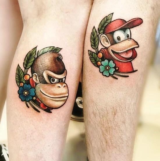 170 kreative Geschwister Tattoo Ideen und Inspirationen großer und kleiner bruder donkey kong