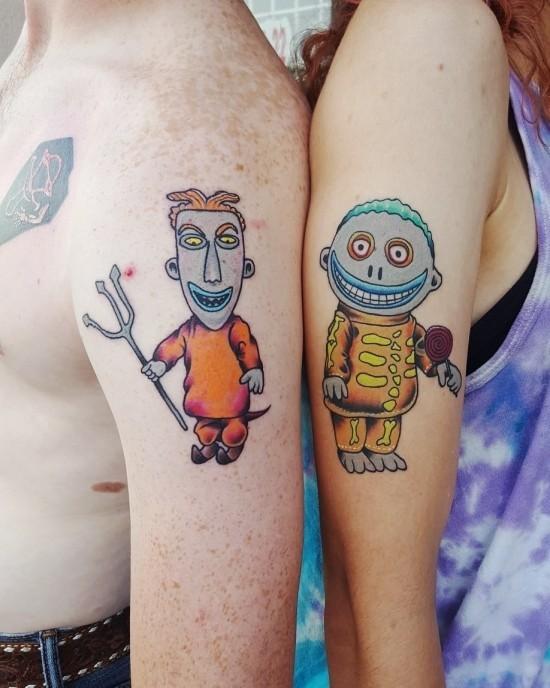 170 kreative Geschwister Tattoo Ideen und Inspirationen gruselige puppen bruder schwester