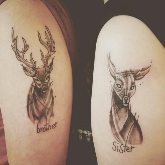 170 kreative Geschwister Tattoo Ideen und Inspirationen hirsch und reh bruder schwester