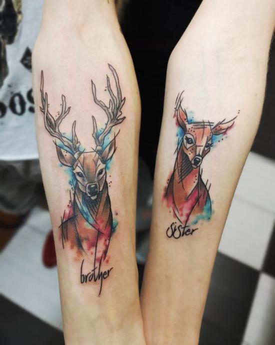 170 kreative Geschwister Tattoo Ideen und Inspirationen hirsch und reh in farbe