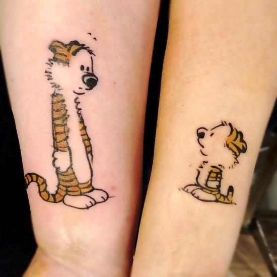 170 kreative Geschwister Tattoo Ideen und Inspirationen hobbs tiger und baby