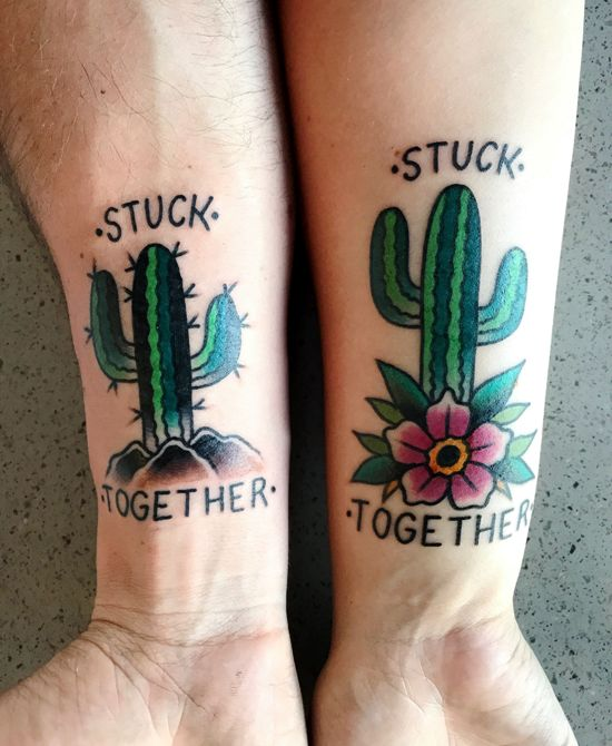 170 kreative Geschwister Tattoo Ideen und Inspirationen kakteen stuck together