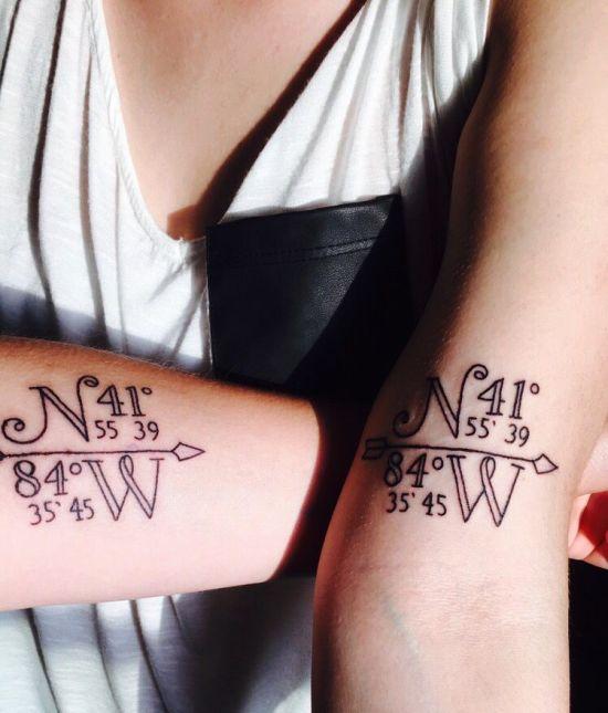 170 kreative Geschwister Tattoo Ideen und Inspirationen koordinaten zum haus in dem sie aufgewachsen haben