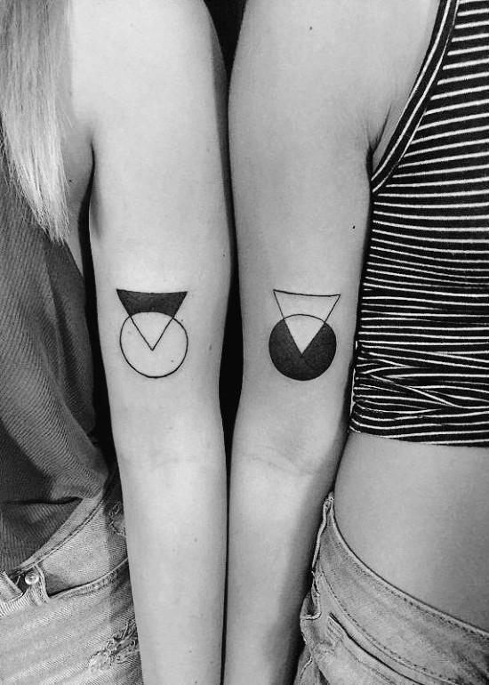 170 kreative Geschwister Tattoo Ideen und Inspirationen kreis und dreieck modern minimal