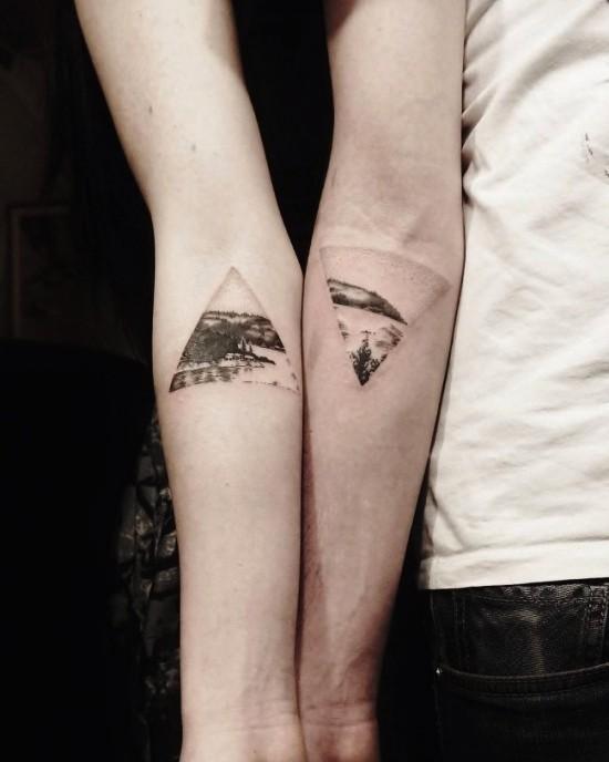 170 kreative Geschwister Tattoo Ideen und Inspirationen landschaft meer berge bruder schwester
