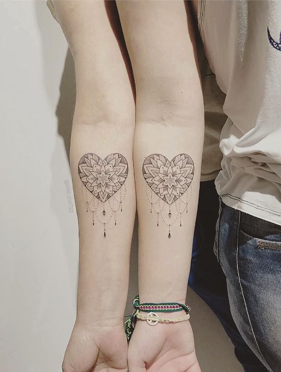 170 kreative Geschwister Tattoo Ideen und Inspirationen mandala herzen schwester