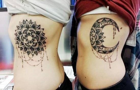 170 kreative Geschwister Tattoo Ideen und Inspirationen mandala sonne mond