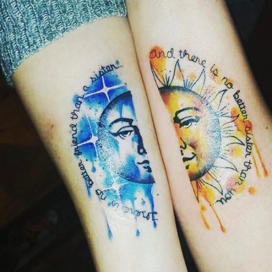 170 kreative Geschwister Tattoo Ideen und Inspirationen mond und sonne wasserfarben schwester