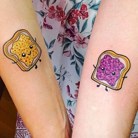 170 kreative Geschwister Tattoo Ideen und Inspirationen peanut butter and jelly marmelade butter