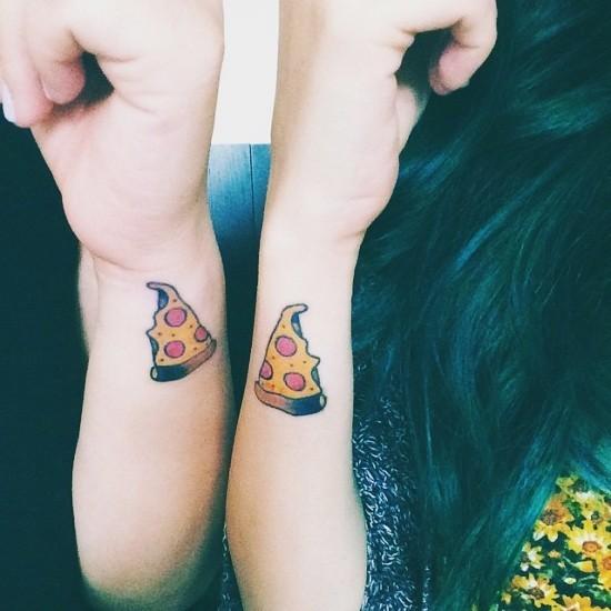 170 kreative Geschwister Tattoo Ideen und Inspirationen pizza stücke lustig witzig