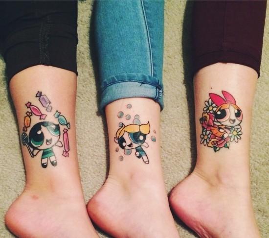 170 kreative Geschwister Tattoo Ideen und Inspirationen powerpuff girls grün gelb rot