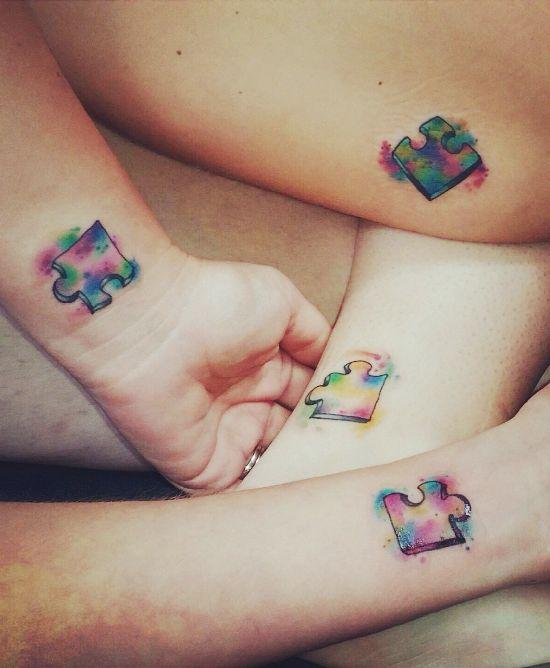 170 kreative Geschwister Tattoo Ideen und Inspirationen puzzle stücke bunt wasserfarben