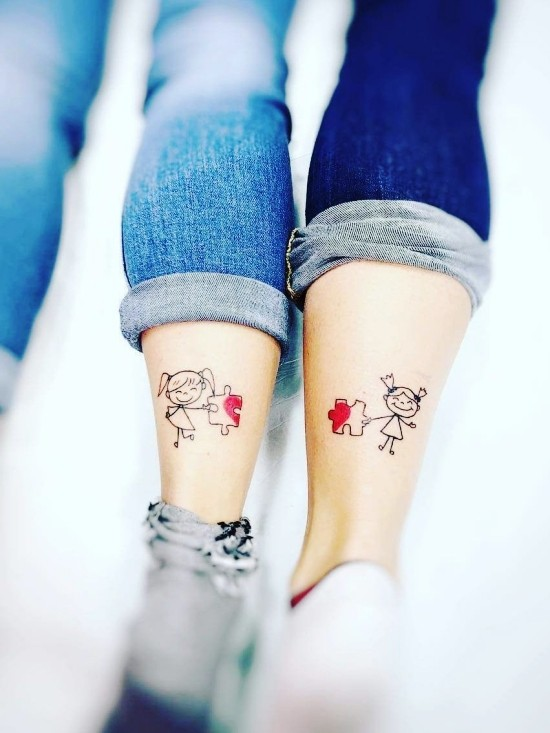 170 kreative Geschwister Tattoo Ideen und Inspirationen puzzle stücke cartoon schwester