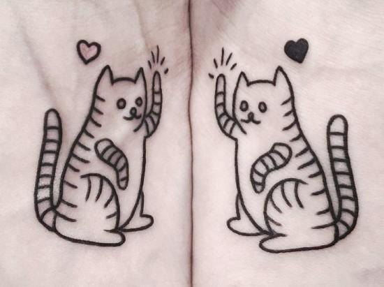 170 kreative Geschwister Tattoo Ideen und Inspirationen süße katzen passend