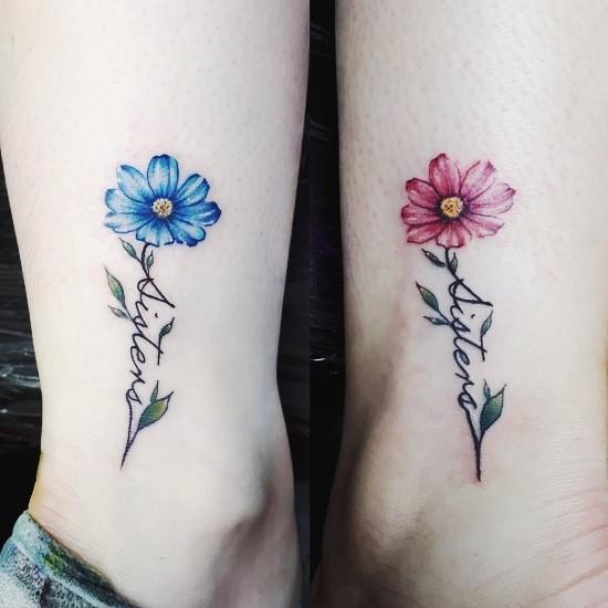 170 kreative Geschwister Tattoo Ideen und Inspirationen schwester blumen blau rosa