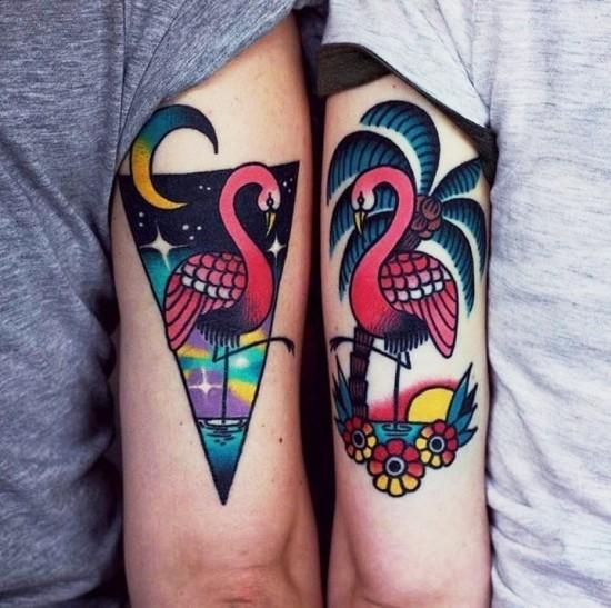 170 kreative Geschwister Tattoo Ideen und Inspirationen schwester sonne mond flamingo