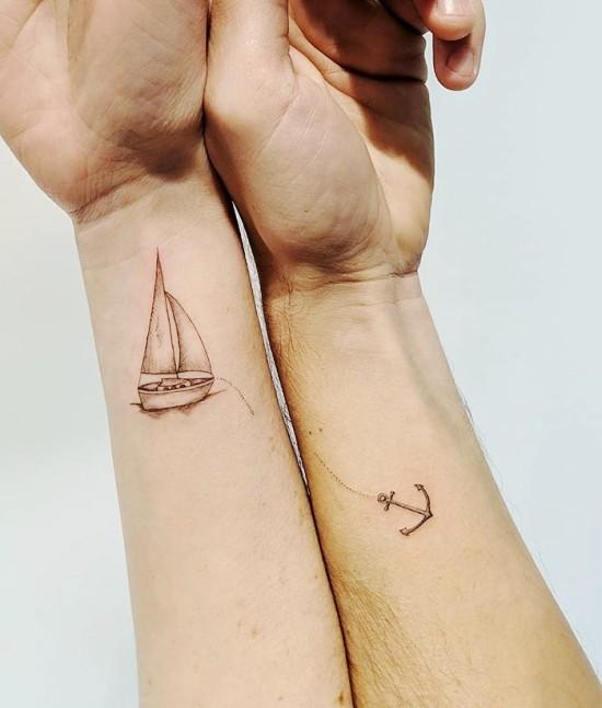 170 kreative Geschwister Tattoo Ideen und Inspirationen segelschiff und anker schwester bruder