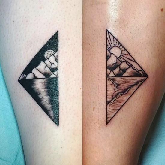 170 kreative Geschwister Tattoo Ideen und Inspirationen sonne mond aufgang
