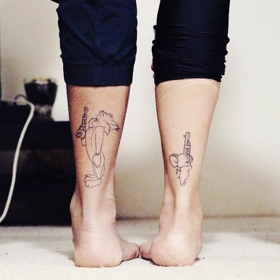 170 kreative Geschwister Tattoo Ideen und Inspirationen tom und jerry hass liebe