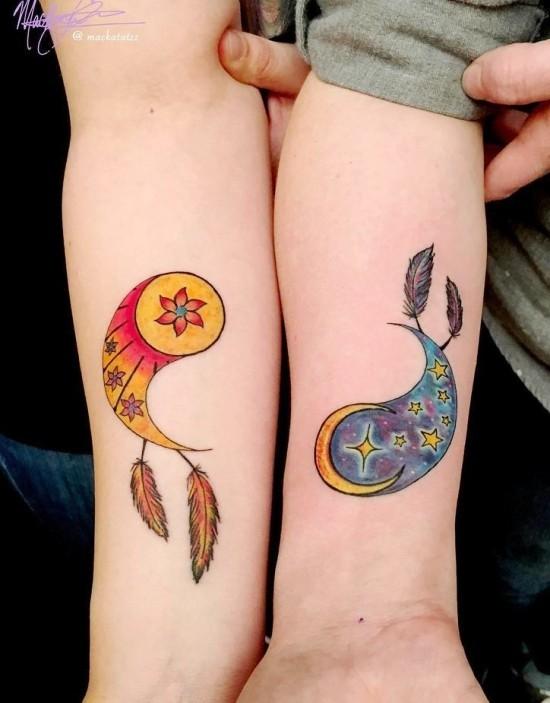 170 kreative Geschwister Tattoo Ideen und Inspirationen traumfänger yin und yang somme mond