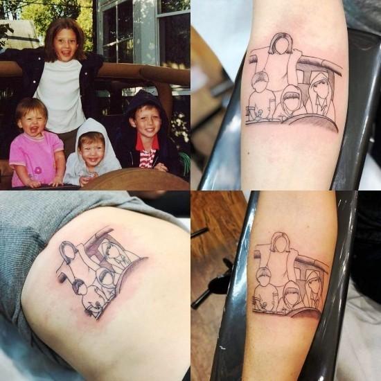 170 kreative Geschwister Tattoo Ideen und Inspirationen vier kinder foto abstrakt modern