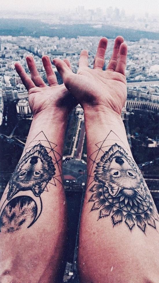 170 kreative Geschwister Tattoo Ideen und Inspirationen wolf bruder sonne mond