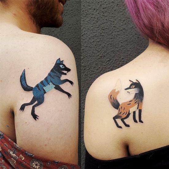 170 kreative Geschwister Tattoo Ideen und Inspirationen wolf und fuchs abstrakt