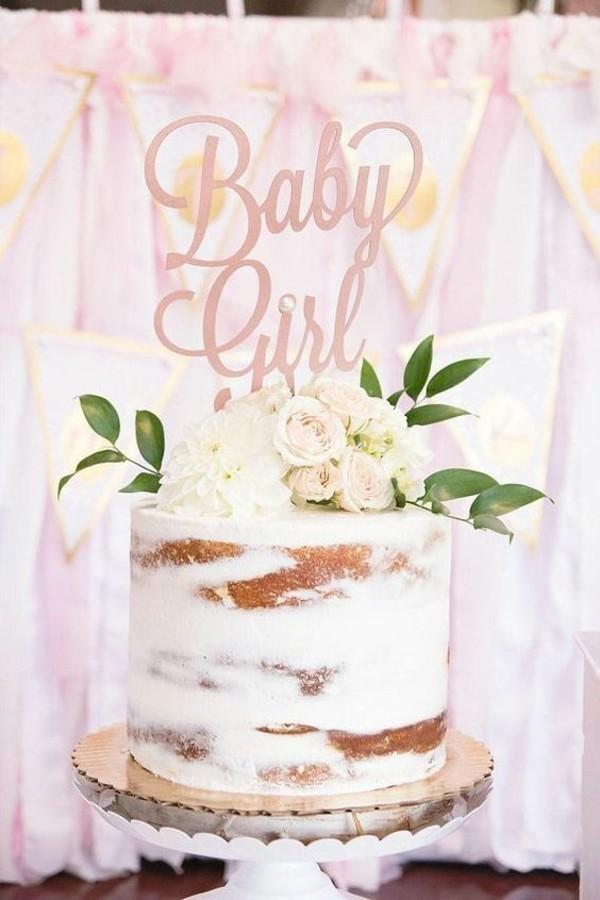 Babytorte Baby Shower Party Babyparty Torte Mädchen rosa